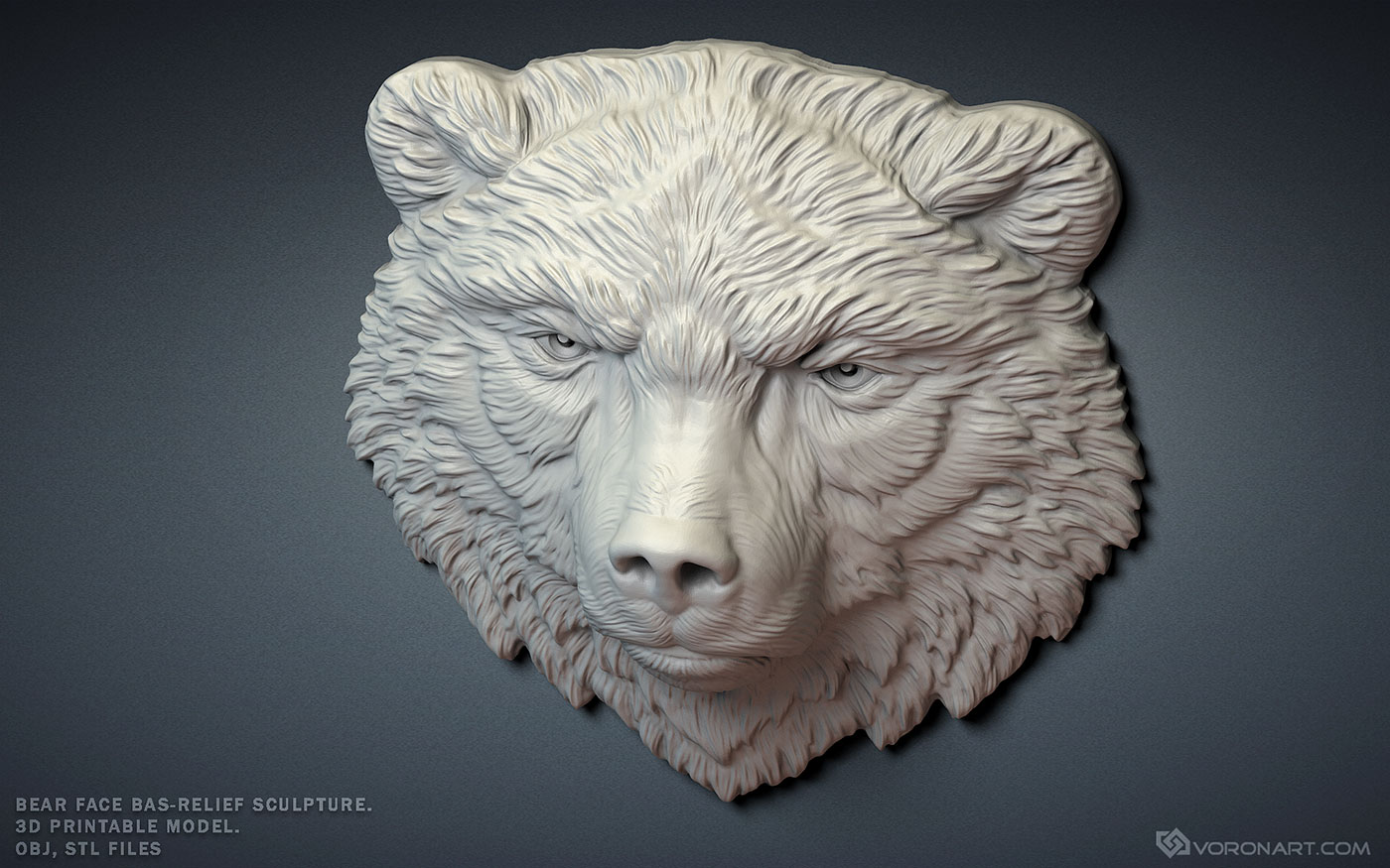 Buy Grizzly, brown bear face bas-relief  For 3d printing