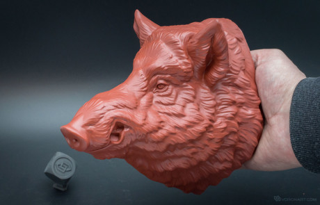 Complex silicone mold was used for wild boar head resin casting