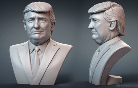 Donald Trump portrait face expression #1. digital sculpture for 3d printing.