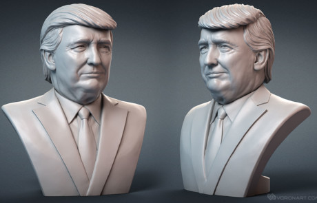 Donald Trump portrait digital sculpture for 3d printing. Emotion #1