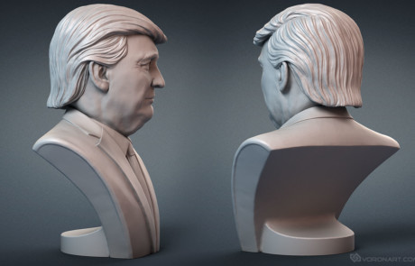 Donald Trump portrait bust for 3d printing, CNC carving. Emotion #1