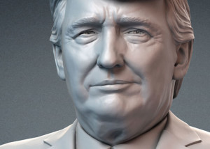 Donald Trump portrait bust for 3d printing, CNC carving. Several emotions.