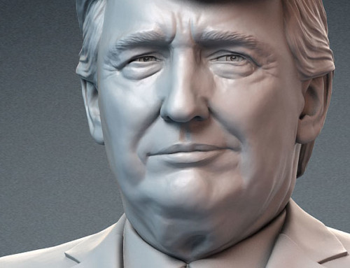 Donald Trump portrait bust sculpture. Emotions