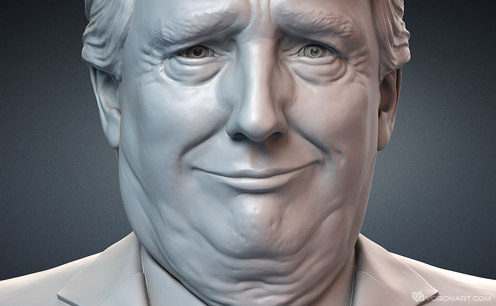 Donald Trump sculpture for 3d printing. Portrait figurine