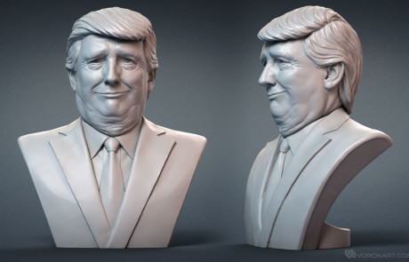 Donald Trump portrait bust for 3d printing, CNC carving. Face expression.