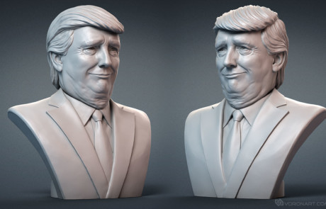 Donald Trump portrait bust digital sculpting for 3d printing. Face expression #2.