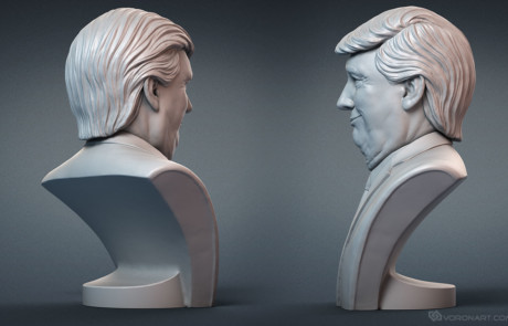 Donald Trump portrait statuette sculpting for 3d printing.