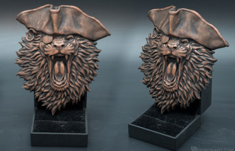 3d printable Lion the pirate relief. Faux copper paining
