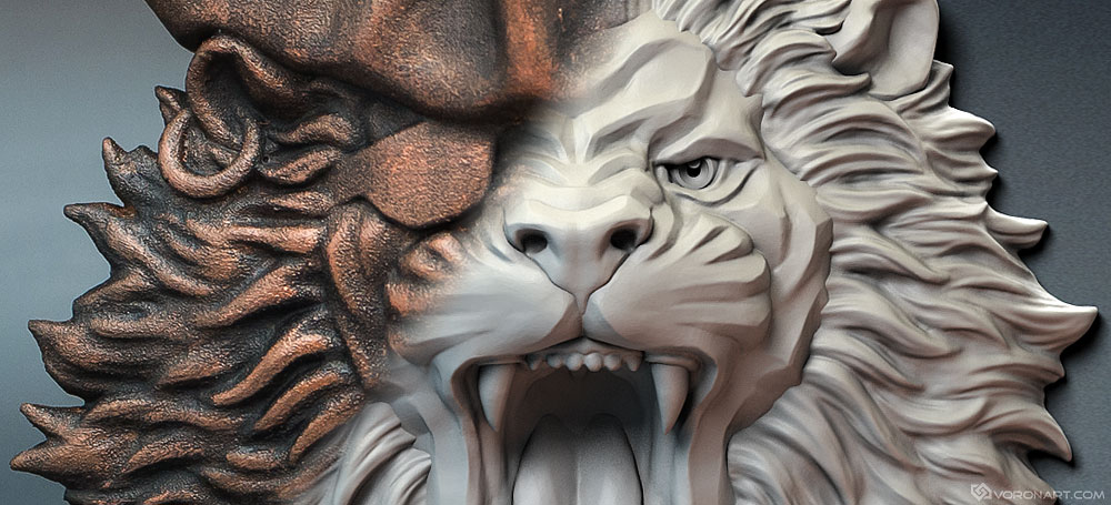 3d printable model. Lion the pirate relief Zbrush sculpting