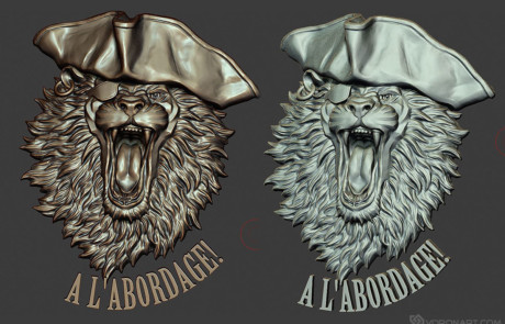 3d printable Lion the pirate relief. Digital 3d model in Zbrush