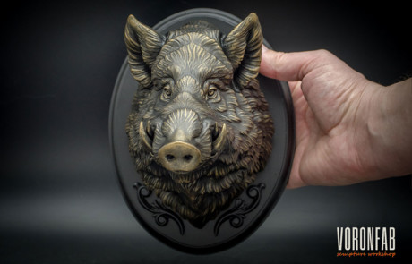 Boar head sculpture wall decor faux bronze resin casting