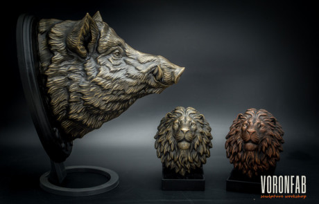 Wild Boar animal head wall sculpture resin casting