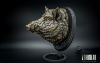 Wild boar head bronze animal sculpture