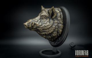 Wild boar head bronze animal sculpture