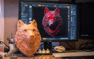 Wolf head 3D print in a bigger size. More fur details have been added