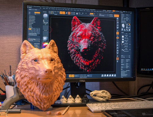 More details – bigger size! 3D printed wolf head