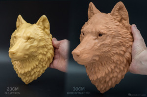 Bigger size for our wolf head 3D print. More fur details have been added