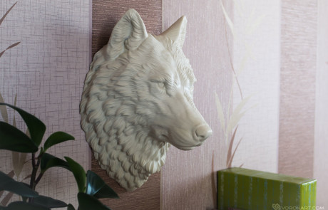 White Wolf head faux taxidermy, animal wall mount