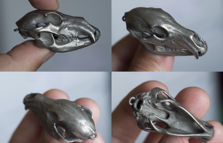 Bear skull replica pendant or keychain. Steel 3d print