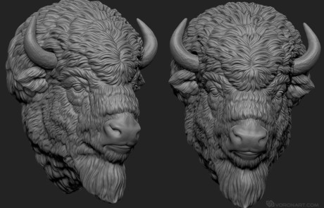 American Bison's head. Highly detailed digital 3d model for 3d printing, CNC carving