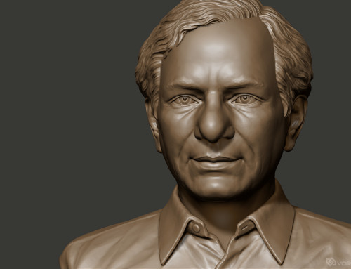 Male portrait bust 3d sculpture. Indian politician