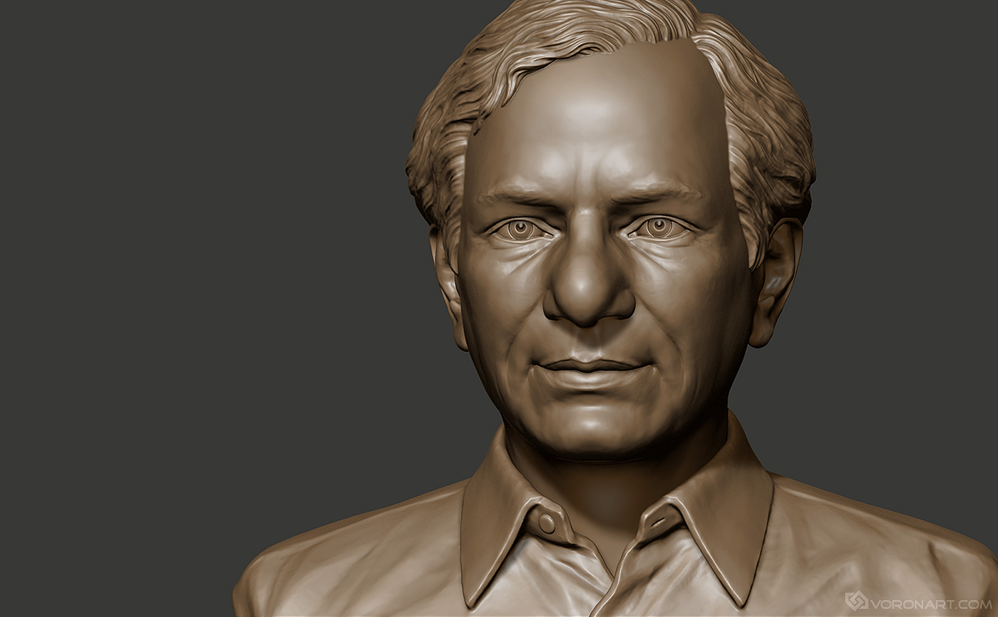 Male portrait bust of politician. Digital sculpting for 3d printing
