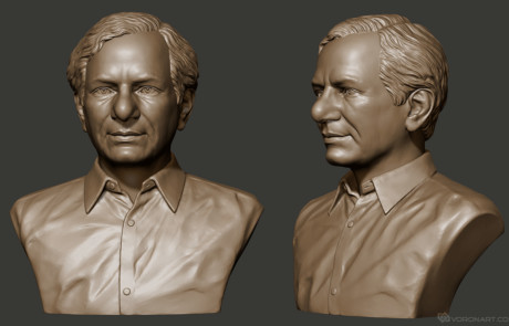 Male portrait bust 3d model. Digital sculpture for 3d printing, CNC carving