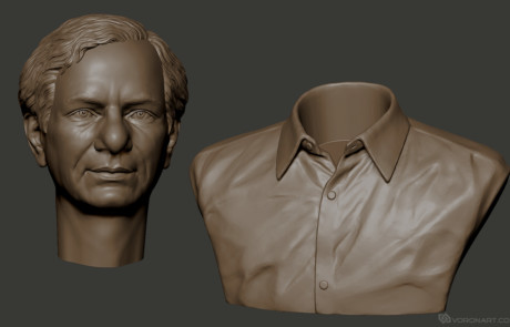 Male portrait 3d model for 3d printing. Digital sculpture STL file