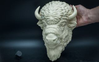 American Bison head wall-mounted sculpture faux taxidermy. Resin casting