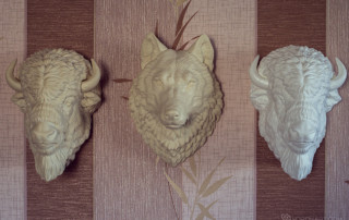 Buy American Bison, Wolf head sculpture faux taxidermy wall mount