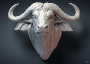 African Cape Buffalo head sculpture 3D model for 3d printing, CNC carving, Jewelry design