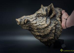 Buy Wild Boar animal head. Bronze wall sculpture faux taxidermy