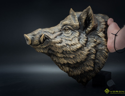 Wild Boar animal head. Bronze wall sculpture faux taxidermy