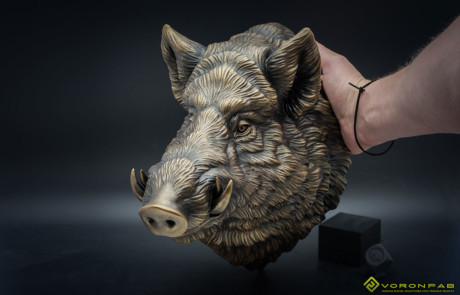 Buy Wild Boar animal head. Bronze wall sculpture faux taxidermy