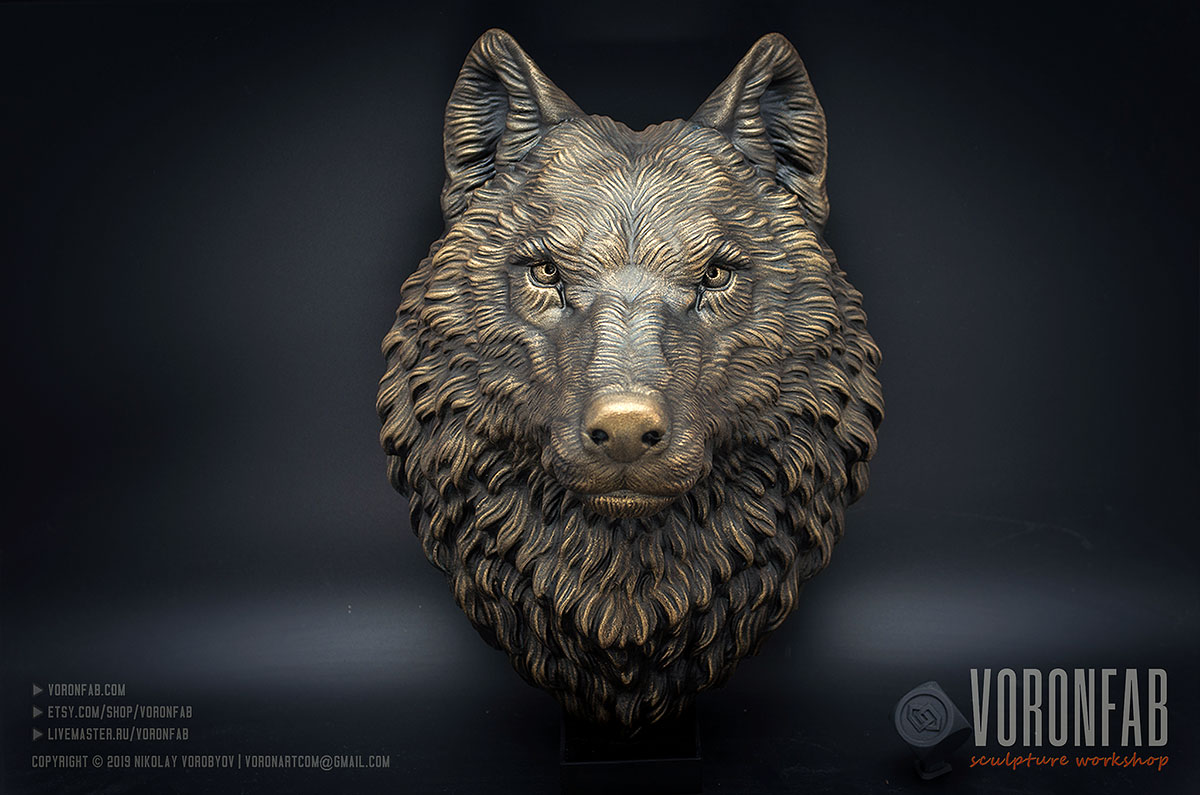 Proud wolf animal head faux taxidermy wall sculpture