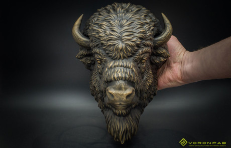 American Bison animal head bronze faux taxidermy wall sculpture