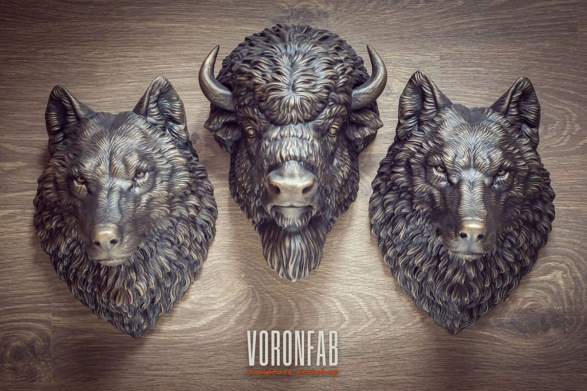 Bison animal head. Faux bronze, copper wall taxidermy sculpture