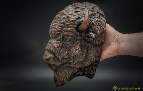 American Bison animal head copper faux taxidermy wall sculpture