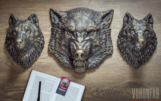 Growling Wolf animal head relief sculpture bronze wall decor