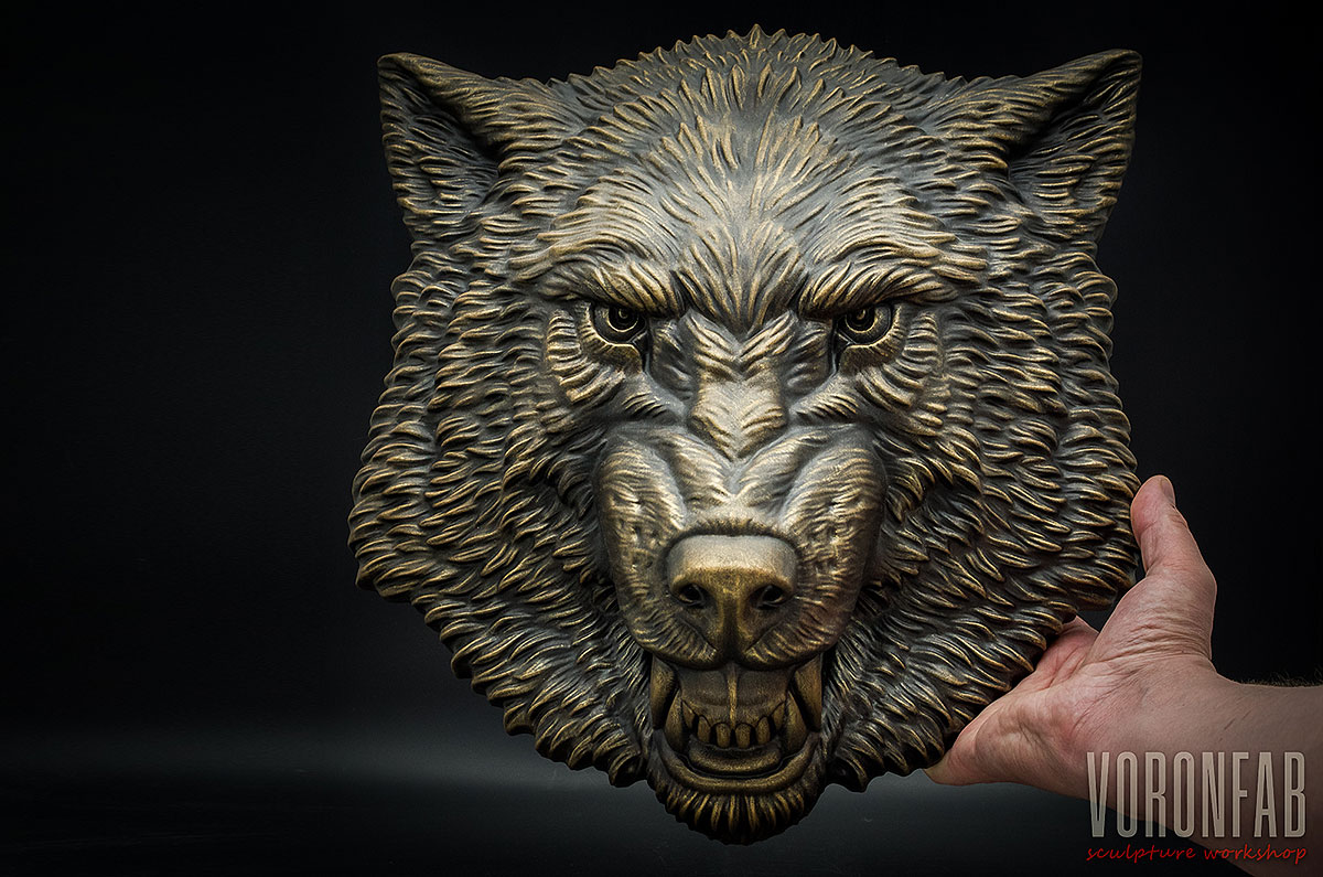 Growling Wolf animal head relief sculpture wall decor