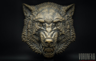 Growling Wolf animal head sculpture bronze color using acrylic