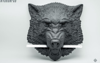Growling Wolf face bas-relief sculpture home wall decor