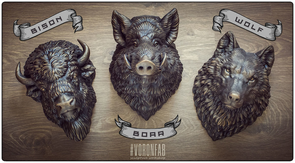 voronfab animal head taxidermy sculptures collection. wolf ,wild boar, bison. Faux bronze