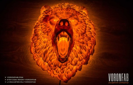 Angry Bear night light. Animal head wall sculpture. faux taxidermy