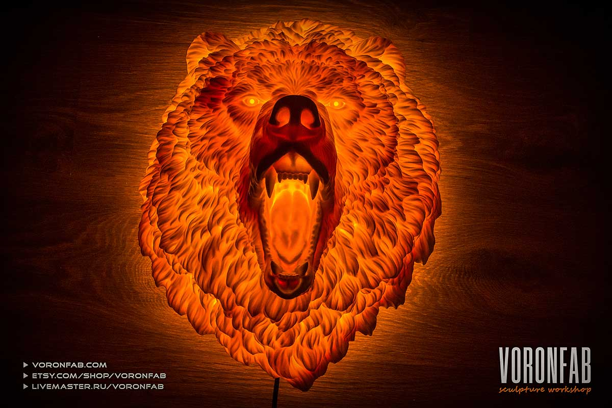 Angry Bear wall light sculpture. Making of