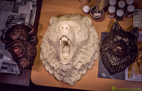 Angry Bear wall sculpture faux taxidermy resin casting
