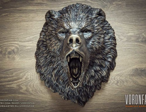 Bronze angry bear animal head wall sculpture