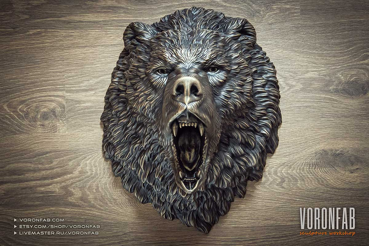 Bronze angry bear animal head wall sculpture faux taxidermy