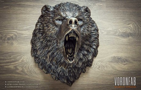 Angry bear grizzly wild animal head bronze wall sculpture