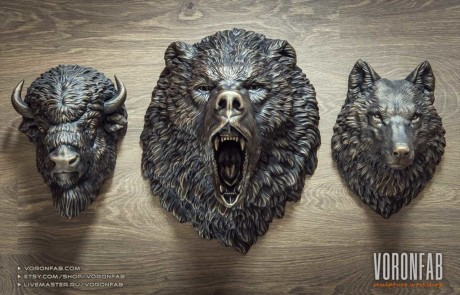 Angry bear, bison, wolf wild animal heads wall sculptures